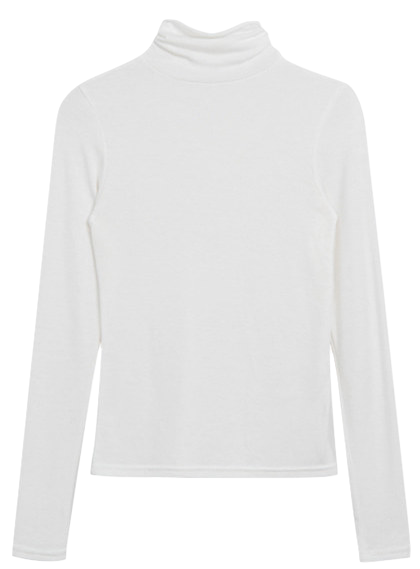 ESSAYSolid Tone Slim Turtleneck T-Shirt