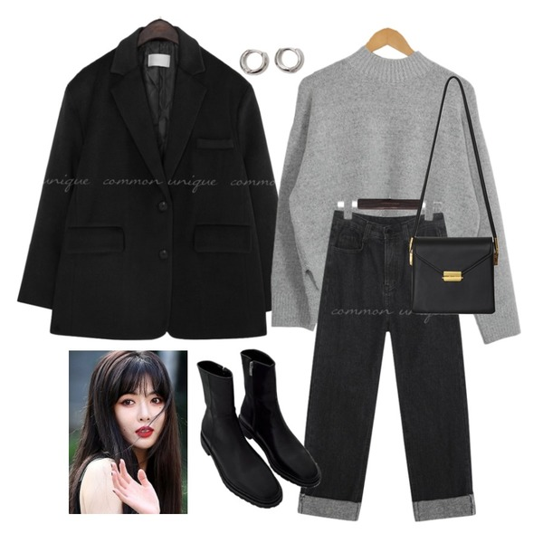 From Beginning Simple minimal earring_B (size : one),common unique NAPPING ROLL UP WIDE DENIM PANTS,biznshoe Rubber sole ankle boots (4colors)등을 매치한 코디