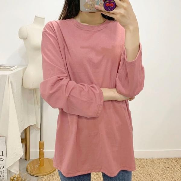 Bee Apple Slit Round Neck Long Sleeve T-Shirt