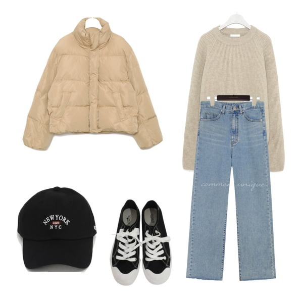 BITDA 버터링 sh (3color),From Beginning New york ball cap_J (size : one),common unique RITON CUTTING WIDE DENIM PANTS등을 매치한 코디
