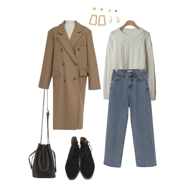 UPTOWN HOLIC 로던 bag (*2color),From Beginning Lawren wool double coat_Y (울 50%) (size : free),MIXXMIX 파티 이어링 세트등을 매치한 코디