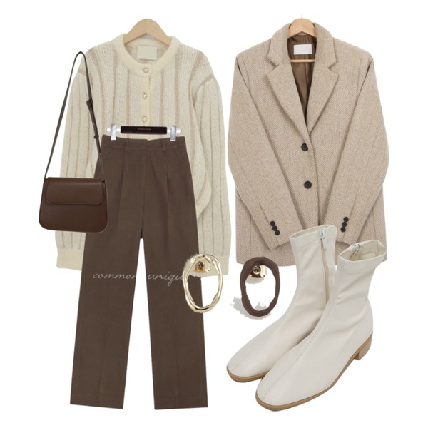 common unique BRASS PINTUCK WIDE COTTON PANTS,From Beginning Blonde flat ankle boots_C (size : 230,235,240,245,250),BANHARU 빈티지 웨이브 귀걸이등을 매치한 코디