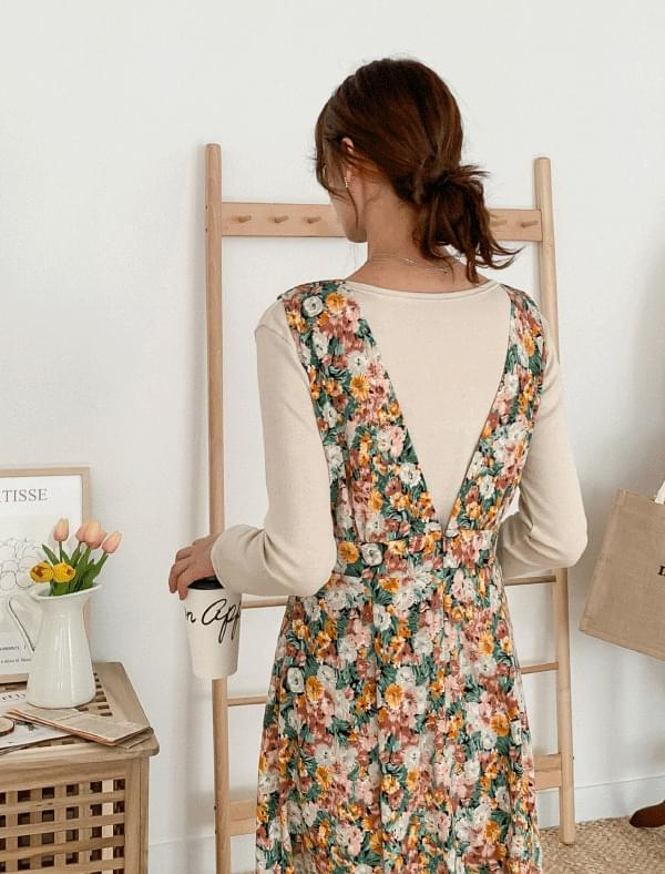 Deep V Neck Flower Long Dress