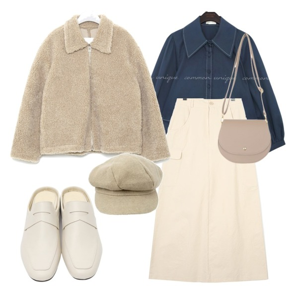 From Beginning Lowell minimal bloafer_K (size : 230,235,240,245,250),BULLANG GIRL 줄라이크로스백,moaol crispy texture cargo maxi skirts (2colors)등을 매치한 코디