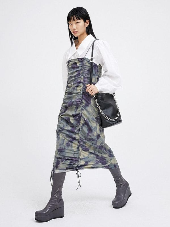 tie-dye string sleeveless ops - woman ワンピース