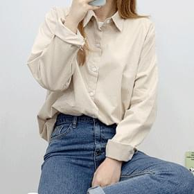 Simple plain long-sleeved shirt blouses