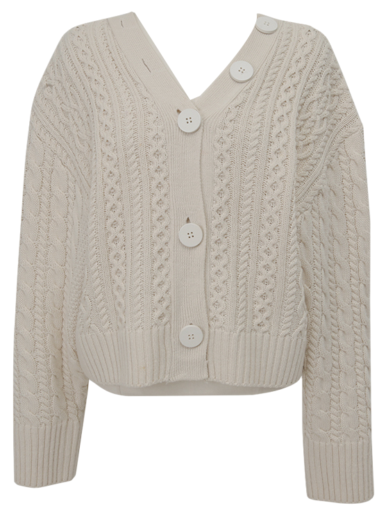 Two-way cable button cardigan_C (size : free)