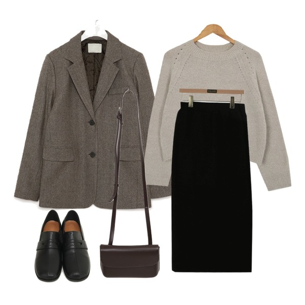 AIN mose wool napping herringbone jacket,From Beginning Round toe stitch loafer_U (size : 230,235,240,245,250),From Beginning One mini cross bag_C (size : one)등을 매치한 코디