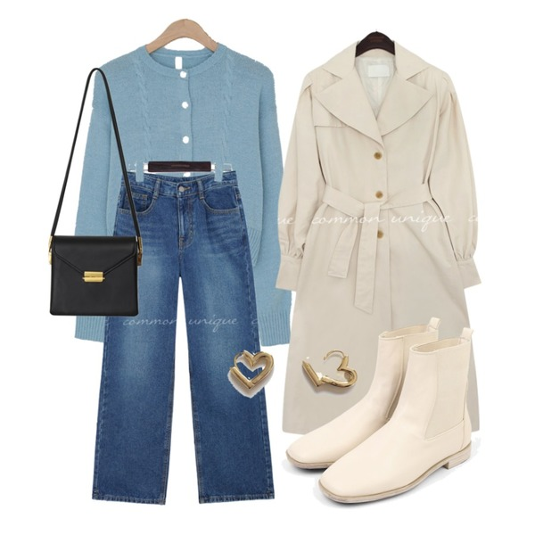 moaol lustrous middle walker (4colors),From Beginning Once string cross bag_A (size : one),common unique HOKI WASHING WIDE DENIM PANTS등을 매치한 코디