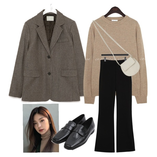 From Beginning Flat round cross bag_A (size : one),AIN mose wool napping herringbone jacket,Zemma World PBP.PLAY PANTS (ver.슬림스트레이트/밍크기모)등을 매치한 코디