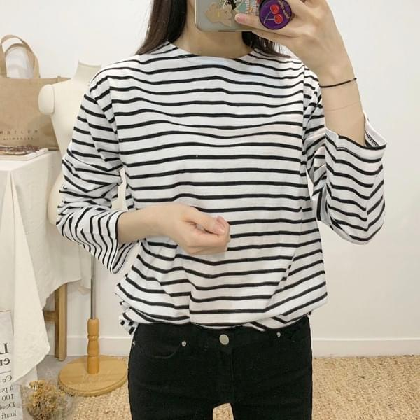 Grande striped round neck long-sleeved T-shirt