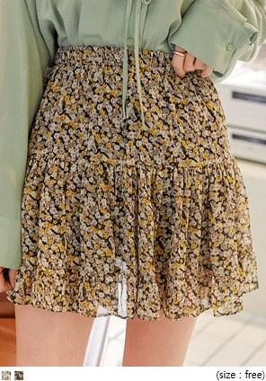 FLOWER CANCAN BANDING MINI SKIRT skirt