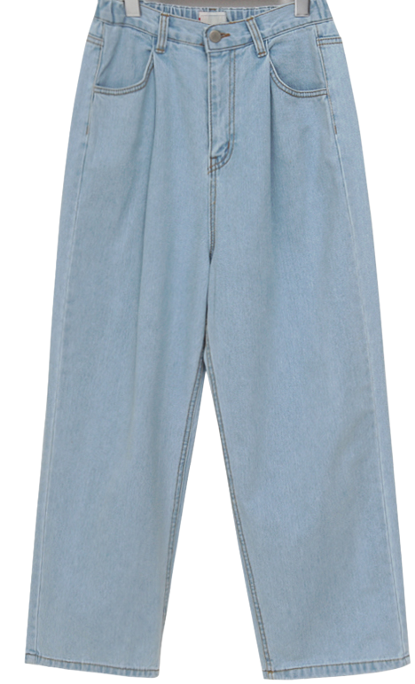 Pintuck Banding Denim Wide Pants