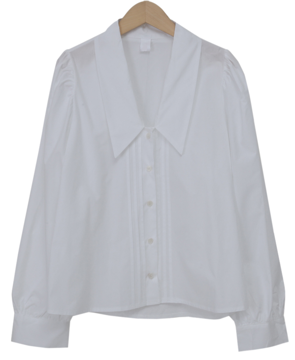 Pintuck v-neck collar blouse_C