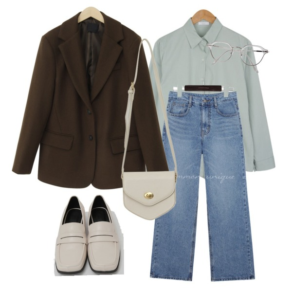 BULLANG GIRL 반듯투명안경,From Beginning Anted wool button jacket_A (울 60%) (size : free),common unique HOKI WASHING WIDE DENIM PANTS등을 매치한 코디