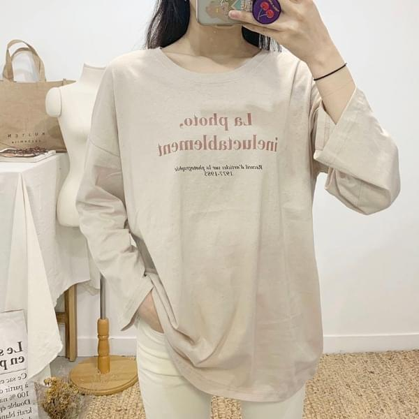 Lafoto Lettering Round Neck Long Sleeve T-Shirt