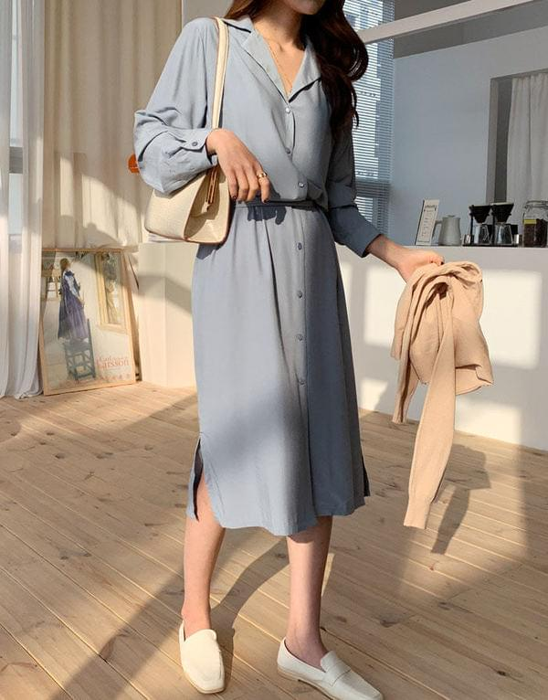 Chiffon tail collar long dress dresses