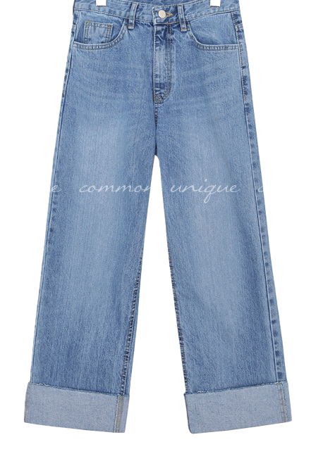 LOIPE ROLL UP WIDE DENIM PANTS