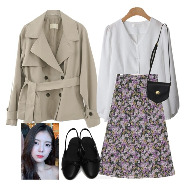 BACHO 레이얀 브이 핀턱블라우스,From Beginning Pent mini cross bag_A (size : one),AFTERMONDAY half trench coat (3colors)등을 매치한 코디
