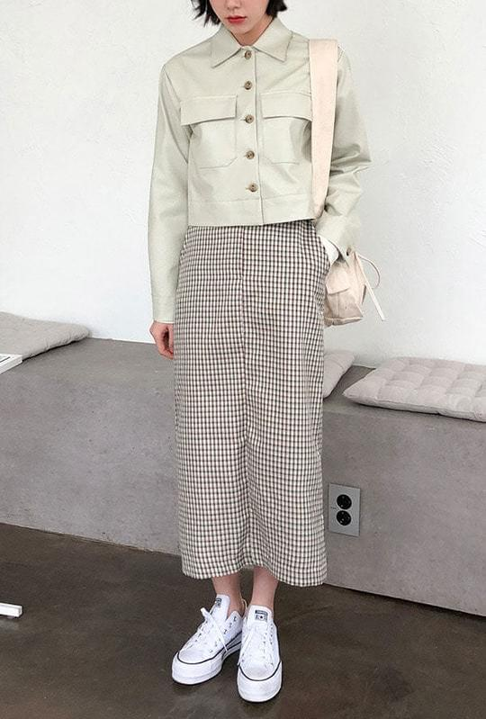 Check trim long skirt スカート