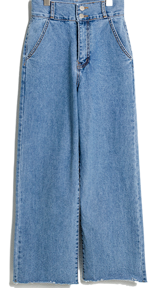 Two-button wide denim 牛仔褲