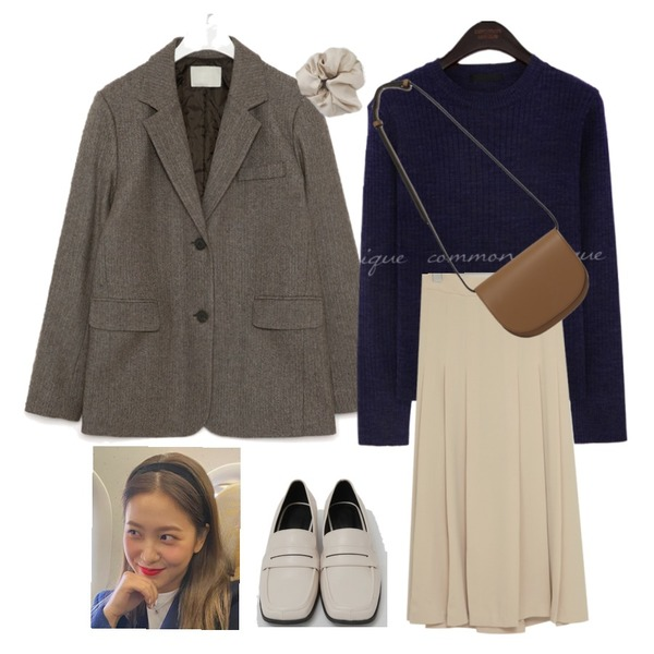 AIN mose wool napping herringbone jacket,From Beginning Mell hard cross bag_C (size : one),From Beginning Broad square toe loafer_C (size : 225,230,235,240,245,250)등을 매치한 코디