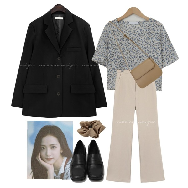 From Beginning Curve simple cross bag_J (size : one),From Beginning Broad square toe loafer_C (size : 225,230,235,240,245,250),From Beginning Marang satin hair band_C (size : one)등을 매치한 코디