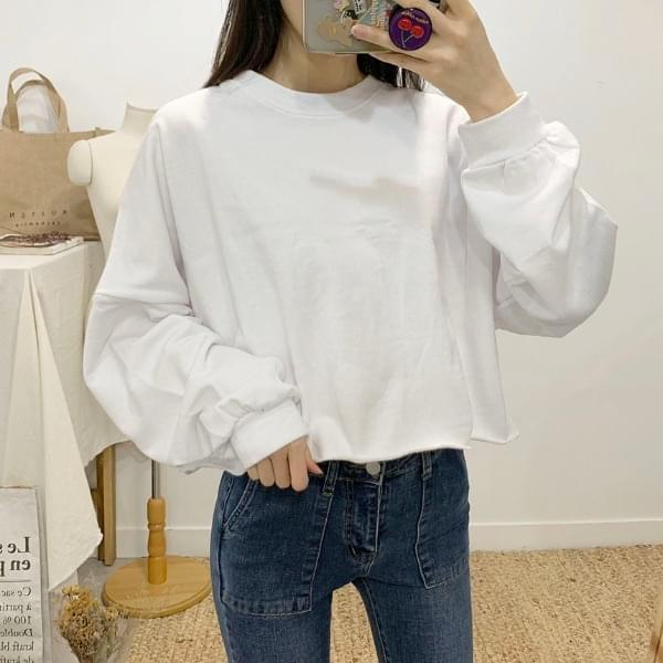 Serenity plain round neck cropped sweat shirt