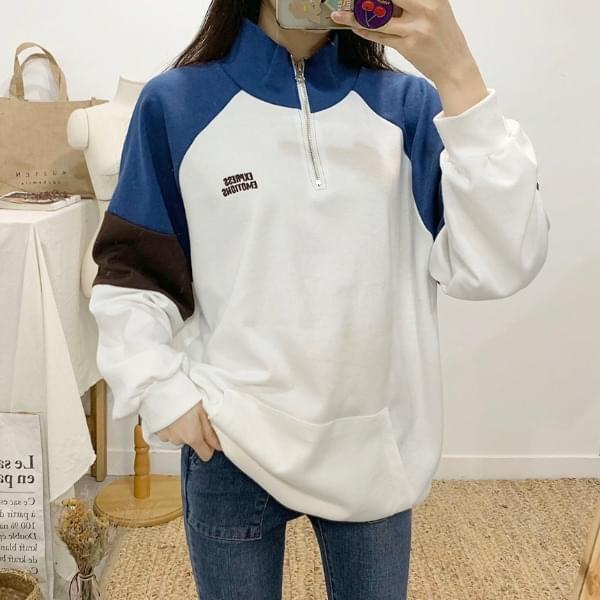 Emoticon color lettering Anorak sweat shirt