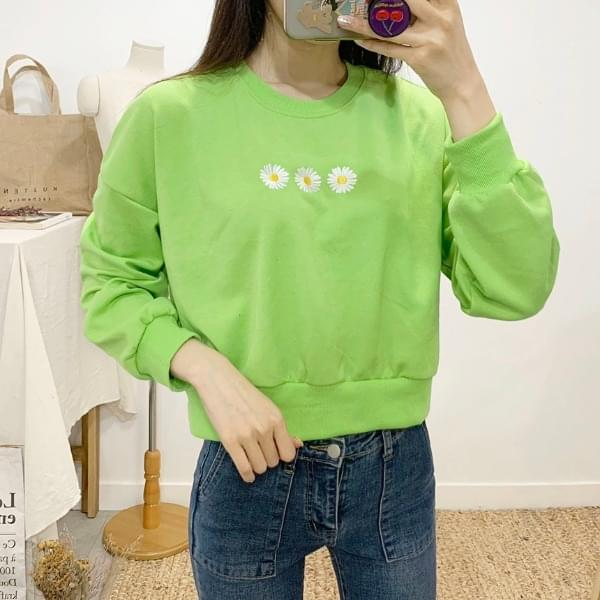 Blossom embroidered round neck cropped sweat shirt