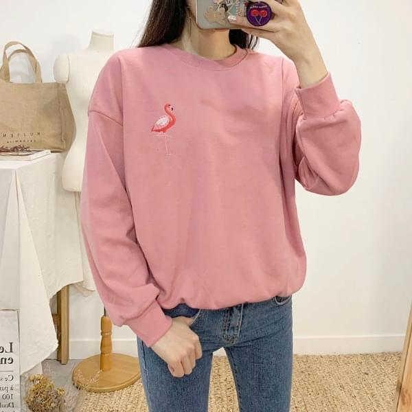 Flamingo color embroidery round neck sweat shirt Long Sleeve