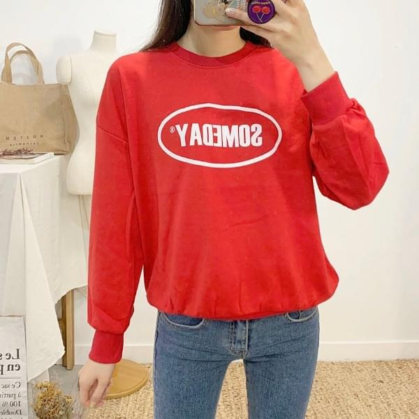 Someday Lettering Round Neck sweat shirt Long Sleeve