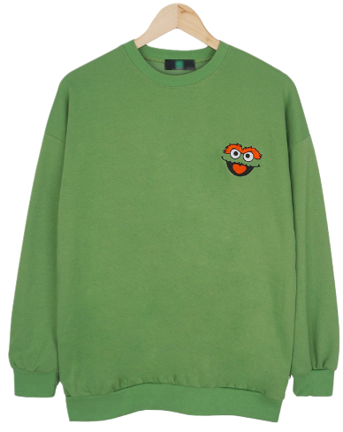 Character embroidery sweat shirt