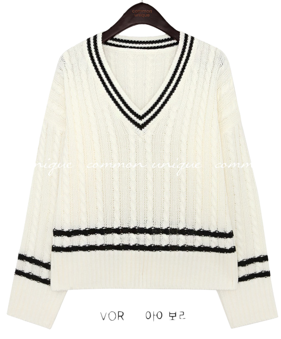 MONBAY TWIST COLORING V NECK KNIT
