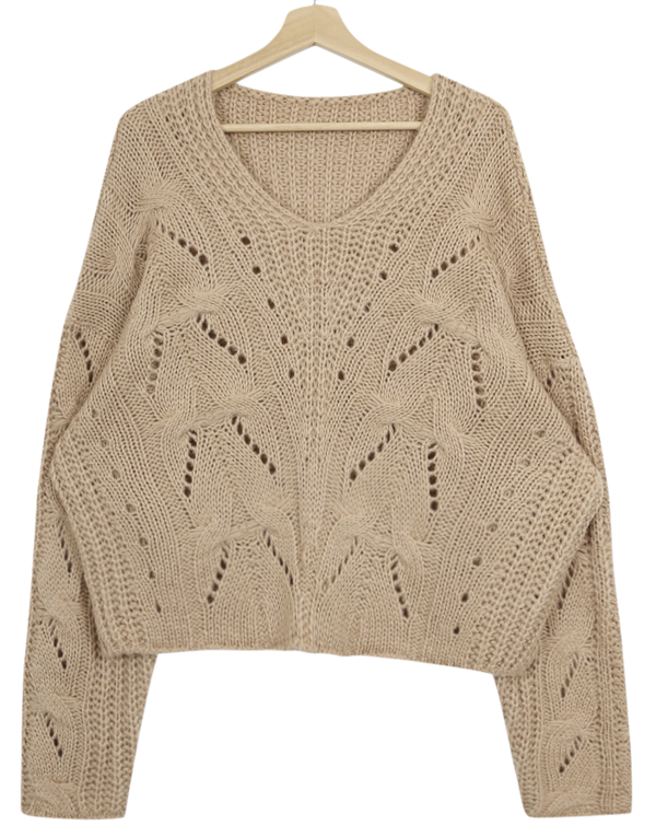 Rib V Neck Cable Knit