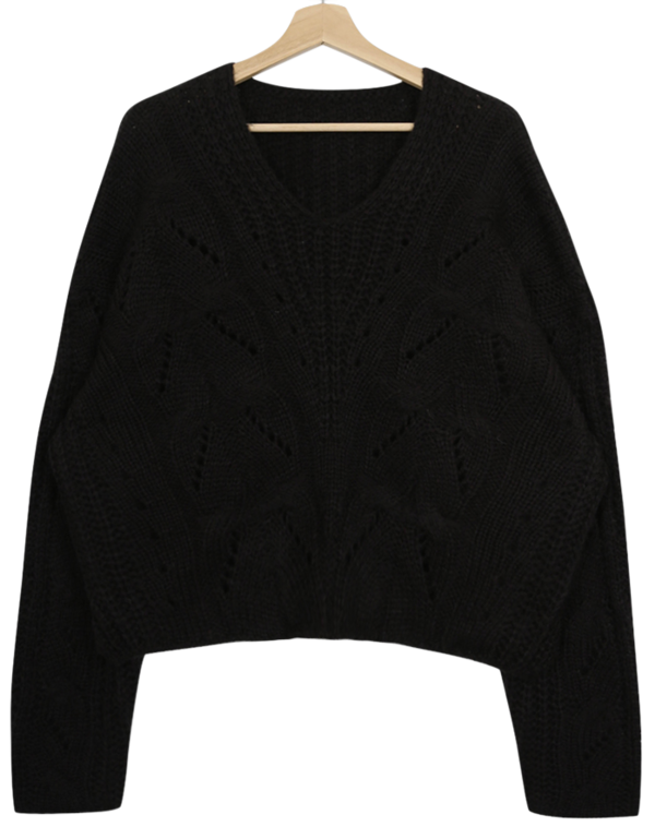 Rib V Neck Cable Knit knitwears