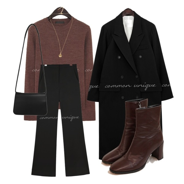 common unique MCKINLEY ANKLE BOOTS,From Beginning Soft simple cross bag_P (size : one),common unique SWEIL DOUBLE LONG COAT등을 매치한 코디