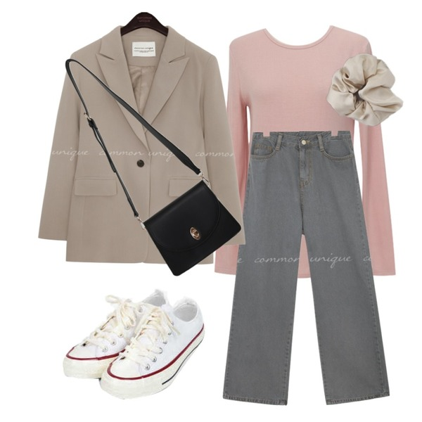 common unique PLENTIFUL SET-UP SINGLE JACKETWITH CELEBRITY _ 장나라, 조보아 착용,AIN taylor canvas sneakers (225-250),From Beginning Butter daily cross bag_H (size : one)등을 매치한 코디