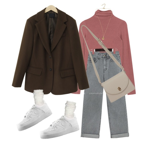 From Beginning Anted wool button jacket_A (울 60%) (size : free),common unique VOYDI ROLL UP WIDE DENIM PANTS,MIXXMIX 보들 텐셀 폴라 티셔츠등을 매치한 코디