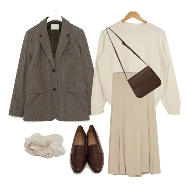 AIN mose wool napping herringbone jacket,From Beginning Curve simple cross bag_J (size : one),From Beginning Mood slim classic loafer_U (size : 230,235,240,245,250)등을 매치한 코디