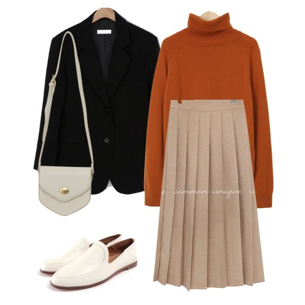 ROCOSIX daily wood loafer,From Beginning Stove pola wool knit_C (울 60%, 캐시미어 5%) (size : free),common unique LIBELL PLEATS BANDING LONG SKIRT등을 매치한 코디