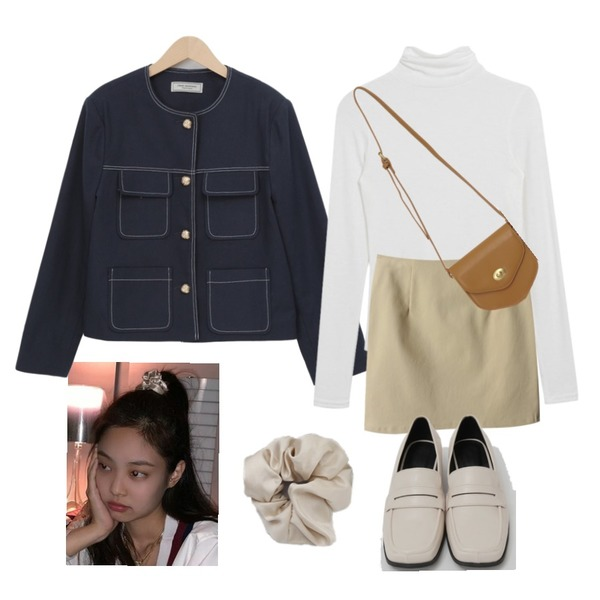 MIXXMIX 보들 텐셀 폴라 티셔츠,From Beginning Broad square toe loafer_C (size : 225,230,235,240,245,250),From Beginning Marang satin hair band_C (size : one)등을 매치한 코디
