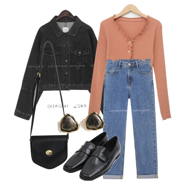 AIN selly classic line loafer (230-250),common unique LEVIT WASHING DENIM JACKET,From Beginning Pent mini cross bag_A (size : one)등을 매치한 코디