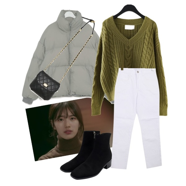 From Beginning Haze slim boots_K (size : 225,230,235,240,245,250),BULLANG GIRL 바스데일리P,AFTERMONDAY deep V-neck twist loose knit (4colors)등을 매치한 코디