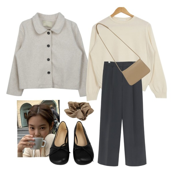 MIXXMIX 심플 모직 숏 자켓,From Beginning Marang satin hair band_C (size : one),From Beginning Soft simple cross bag_P (size : one)등을 매치한 코디