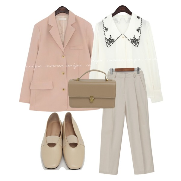 From Beginning Today pin-tuck cotton pants_U (size : S,M),From Beginning Rod banding flat shoes_C (size : 225,230,235,240,245,250),common unique FLOWER NEEDLE BIG COLLAR BLOUSE등을 매치한 코디