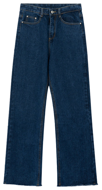 Raw Hem Wide-Leg Denim Pants
