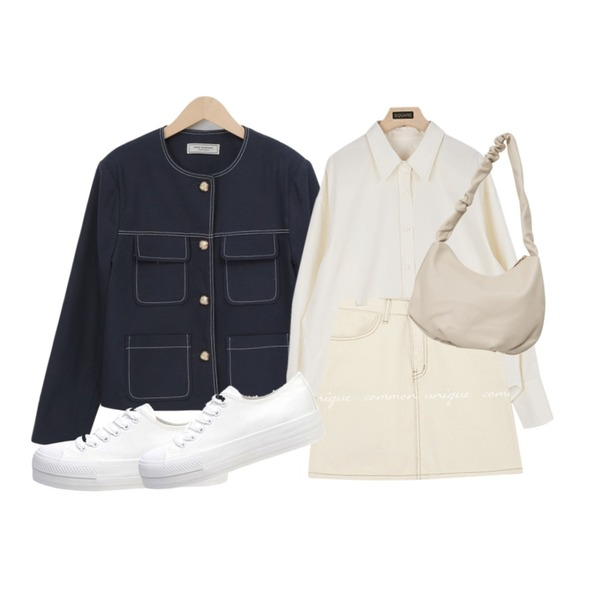 biznshoe Standard cotton sneakers (2color),square101 메르 스탠다드 셔츠 (3color),From Beginning Stitch pocket round jacket (size : free)등을 매치한 코디