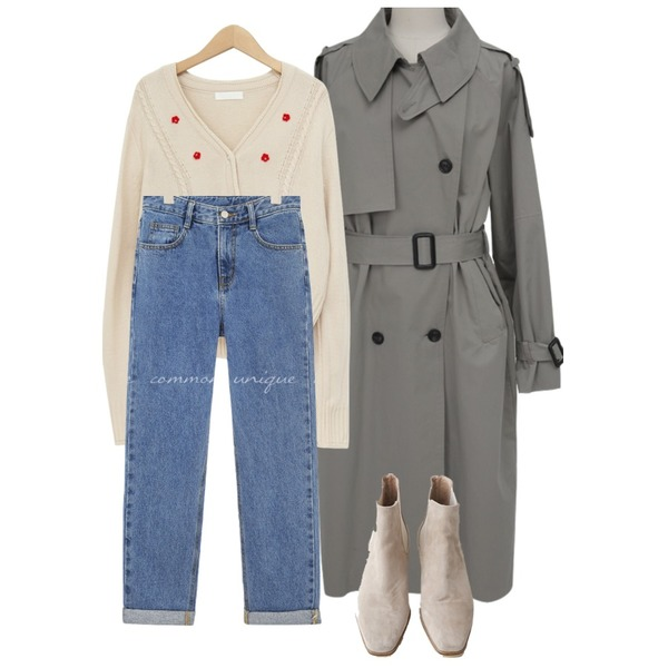 AFTERMONDAY wooden suede chelsea boots (2colors),From Beginning Tiny flower short cardigan_U (size : free),common unique ROLL UP SEMI BAGGY DENIM PANTS등을 매치한 코디