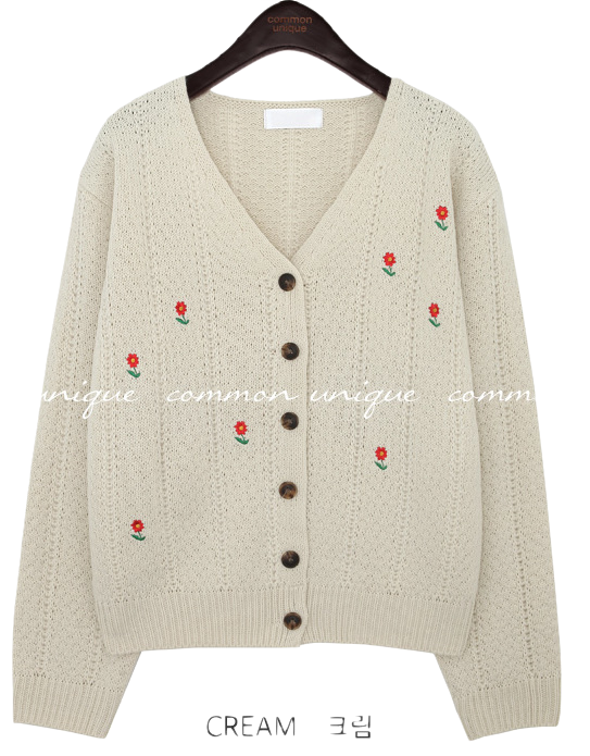 COLLY FLOWER NEEDLE KNIT CARDIGAN